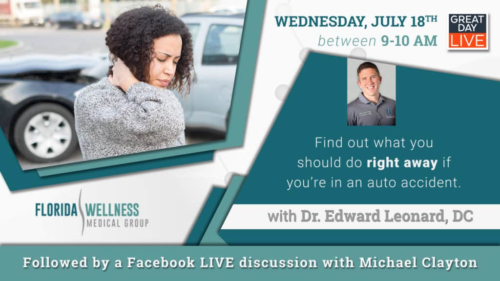 What should you do after you've been in a car accident? Start with Expert Chiropractic Services from Florida Wellness Medical Group. Join us on Wednesday, July 18 for a LIVE Q&A + $40 OFF First Visit.